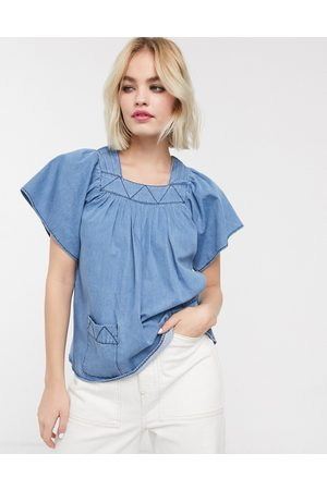 Whistles Square neck denim blouse-Blue