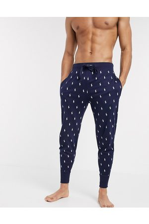 Polo Ralph Lauren Muži Teplakovka - Lounge jogger in navy with all over print logo