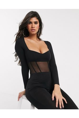 ASOS Corset style sweetheart neck bodysuit in black