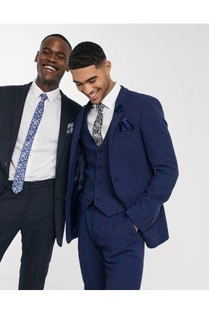 ASOS Wedding super skinny suit jacket in blue wool blend micro houndstooth
