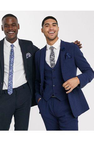 ASOS Muži Společenské vesty - Wedding super skinny suit waistcoat in blue wool blend micro houndstooth