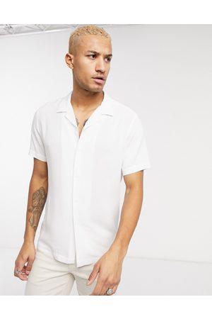 ASOS Regular fit viscose shirt with revere collar in white