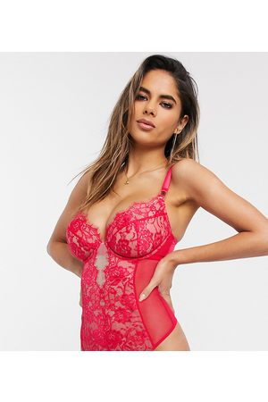 ASOS Fuller Bust Alana fishnet underwire body with lace detail-Red