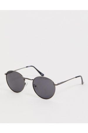 ASOS Metal round sunglasses in gunmetal with smoke lens-Grey