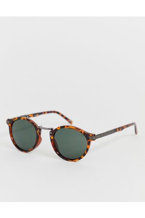 ASOS Festival round sunglasses in tort with smoke lens-Brown