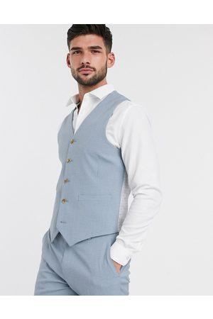 ASOS Muži Společenské vesty - Wedding skinny suit waistcoat in crosshatch in soft blue