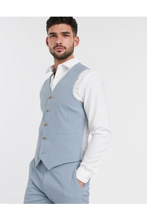 ASOS Wedding skinny suit waistcoat in crosshatch in soft blue