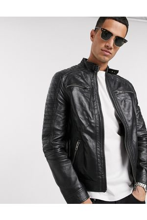 Barneys Originals Real leather 4 pocket biker jacket-Black