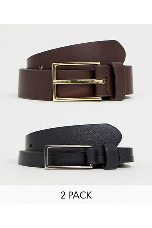 ASOS 2 pack smart slim belt in black and brown faux leather SAVE-Multi