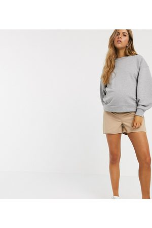 ASOS ASOS DESIGN Maternity chino short with under the bump waistband in stone-Beige