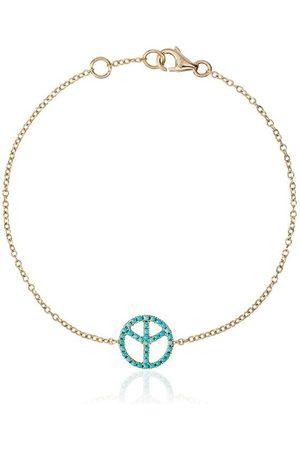 ROSA DE LA CRUZ 18k gold bracelet with turquoise peace charm