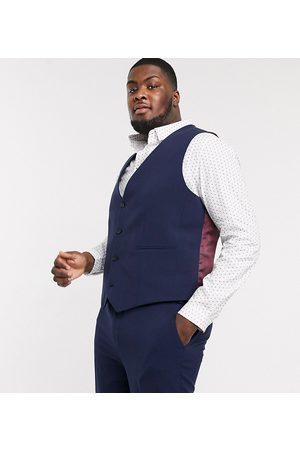 ASOS Muži Společenské vesty - Plus super skinny suit waistcoat in four way stretch in navy