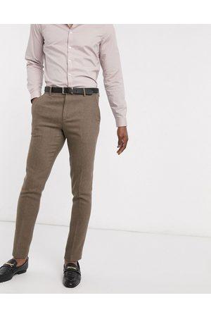 ASOS Wedding skinny wool mix suit trousers in camel herringbone-Beige