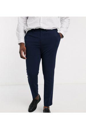 ASOS Muži Společenské - Plus super skinny suit trousers in four way stretch in navy