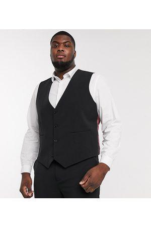 ASOS Plus super skinny suit waistcoat in four way stretch in black