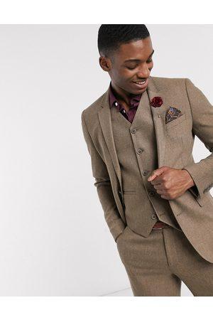 ASOS Wedding super skinny wool mix suit jacket in camel herringbone-Beige