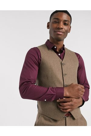 ASOS Wedding super skinny wool mix suit waistcoat in camel herringbone-Beige