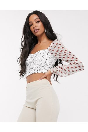 Pretty Darling Mix and match shirred crop top-Multi