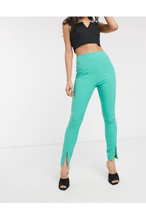 ASOS Pop slim split front trousers-Green