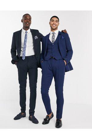 ASOS Muži Společenské - Wedding super skinny suit trousers in blue wool blend micro houndstooth