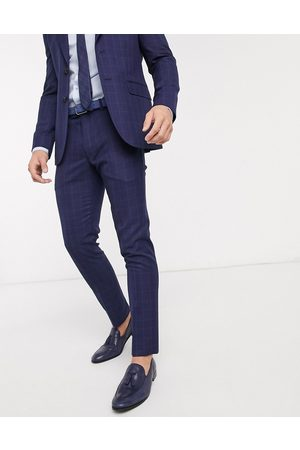 Moss Bros Moss London eco suit trousers in blue check