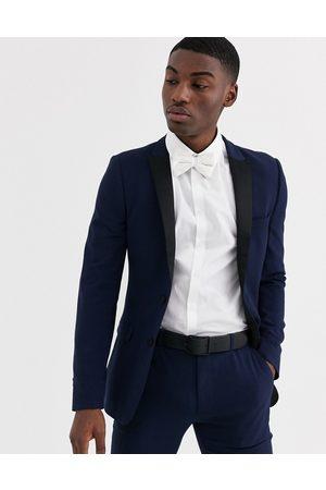 ASOS Super skinny tuxedo suit jacket in navy