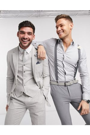 ASOS Wedding super skinny suit jacket in stretch cotton linen in grey check