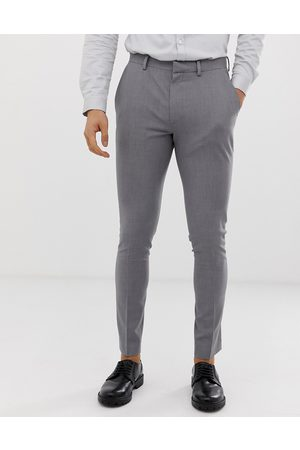 ASOS Muži Chino - Super skinny smart trousers in grey