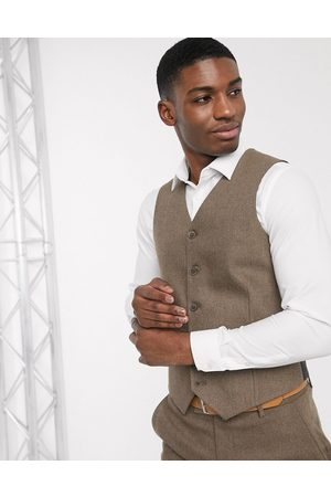 ASOS Wedding slim wool mix suit waistcoat in camel herringbone-Beige
