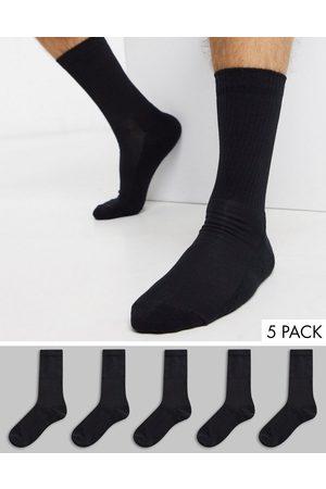 New Look Ribbed 5 pack sport socks in black