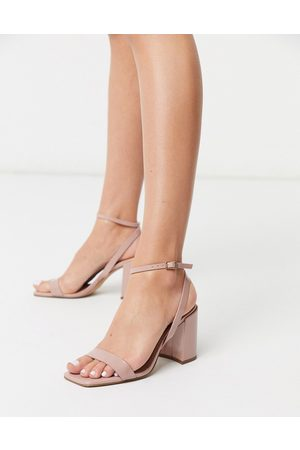 ASOS Havana barely there block heeled sandals in beige patent