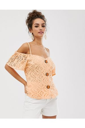 ASOS Contrast broderie off shoulder top with button through-Pink