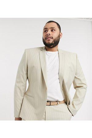 ASOS Plus skinny suit jacket in stone pinstripe