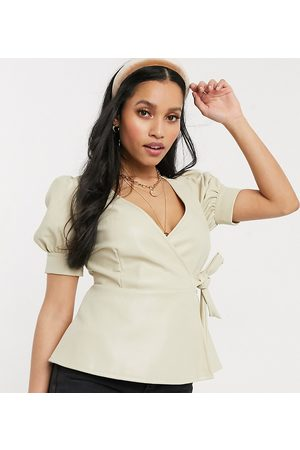 Vero Moda Wrap top in faux leather in cream-White
