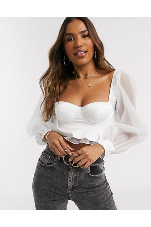 ASOS Padded underwire bra top with organza puff sleeves-White