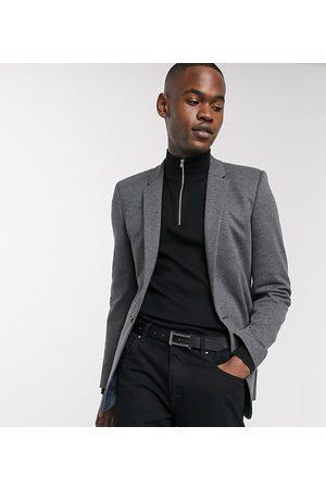 ASOS Muži Saka - Tall super skinny jersey blazer in charcoal-Grey