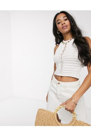 ASOS Crochet halter neck crop top-Cream
