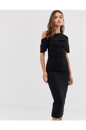 ASOS Pleated shoulder pencil dress in black