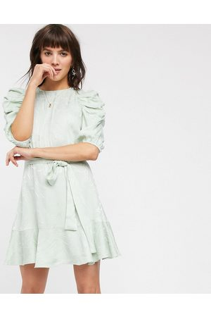 & OTHER STORIES Swirly jacquard belted mini dress in sage green