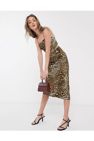 Jagger and Stone Jagger & Stone 90's hankerchief top in leopard print satin co-ord-Brown