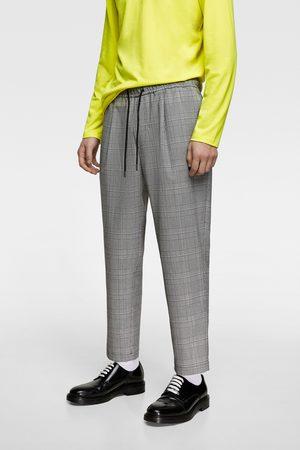Zara Kostkované kalhoty s pasem jogger