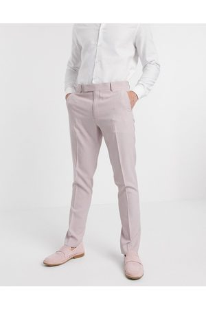ASOS Muži Úzké nohavice - Wedding skinny suit trousers in crosshatch in rose pink