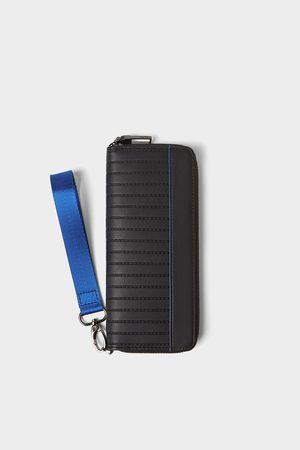 Zara černá peněženka xl s modrými detaily