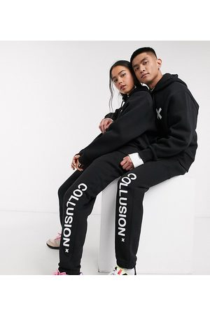 COLLUSION Unisex logo jogger in black
