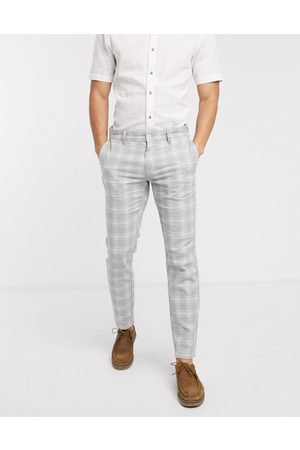 Only & Sons Slim tapered smart check trousers in grey