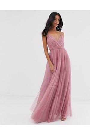 ASOS Ženy Maxi - Cami pleated tulle maxi dress in rose-Pink