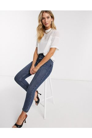 ASOS Short sleeve high neck top in sheer and solid in ivory-White