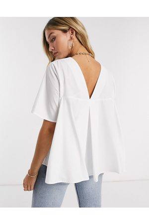 ASOS Short sleeve cotton top with pleat back detail in white