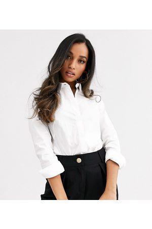 ASOS ASOS DESIGN Petite long sleeve fitted shirt in stretch cotton in white
