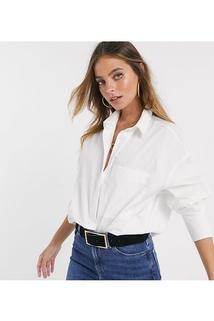 ASOS ASOS DESIGN Petite long sleeve boyfriend shirt in white